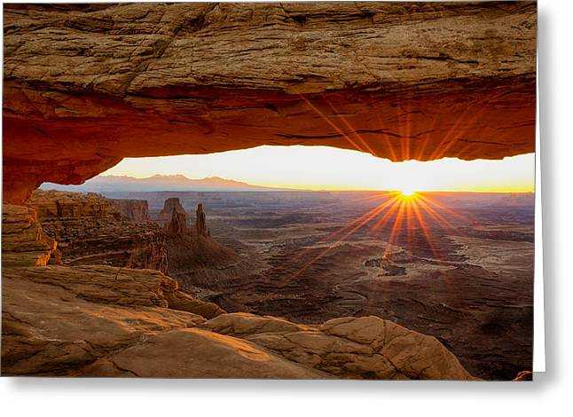 Park Lights Greeting Cards - Mesa Arch Sunrise - Canyonlands National Park - Moab Utah Greeting Card by Brian Harig