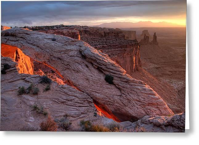 Mesa Arch Sunrise II Greeting Card by Jeff Clay