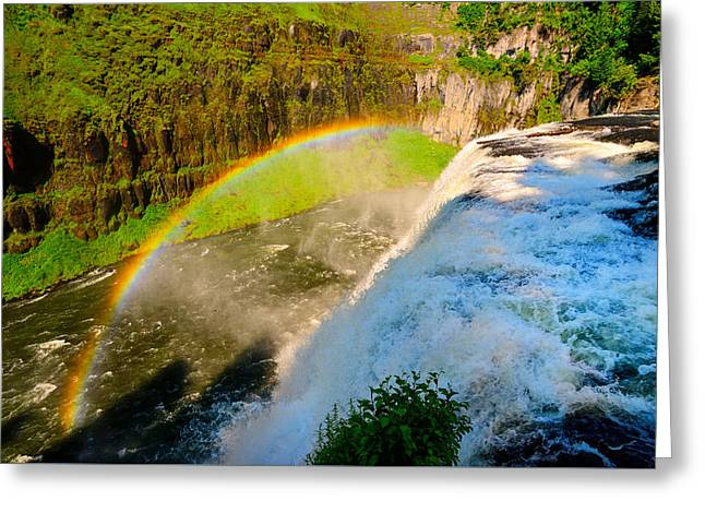 Great Falls Of Yellowstone Greeting Cards - Mesa Falls Rainbow Greeting Card by Greg Norrell