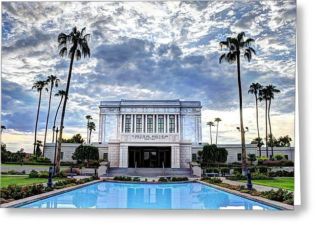 Sacred Photographs Greeting Cards - Mesa Temple Morning Greeting Card by Jaren Martineau