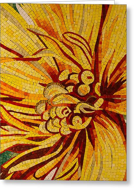 Effervescent Greeting Cards - Mesmerizing Golds and Yellows - a Floral Ceramic Tile Mosaic Greeting Card by Georgia Mizuleva