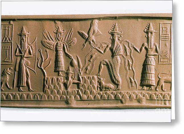 Religious Icon Greeting Cards - Mesopotamian Gods Greeting Card by Photo Researchers