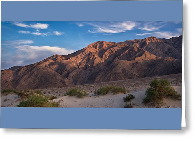 Mountain Valley Greeting Cards - Mesquite Dunes and Panamint Range Death Valley Greeting Card by Steve Gadomski