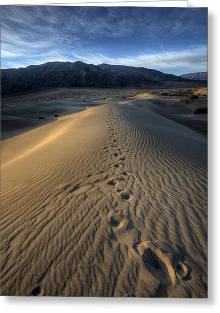 Mesquite Flats Footsteps Greeting Card by Peter Tellone