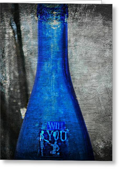 Glass Bottle Greeting Cards - Message in a Bottle Greeting Card by Kathy Barney