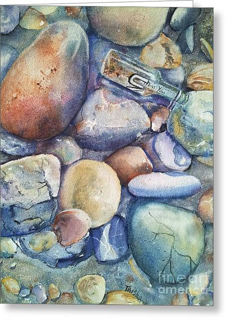 Glass Pebble Greeting Cards - Message In A Bottle Greeting Card by Patricia Pushaw