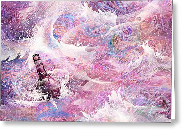 Message In A Bottle Greeting Card by Rachel Christine Nowicki
