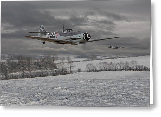 Clouds Scape Greeting Cards - Messerschmitt Bf 109 G - Gustav Greeting Card by Pat Speirs