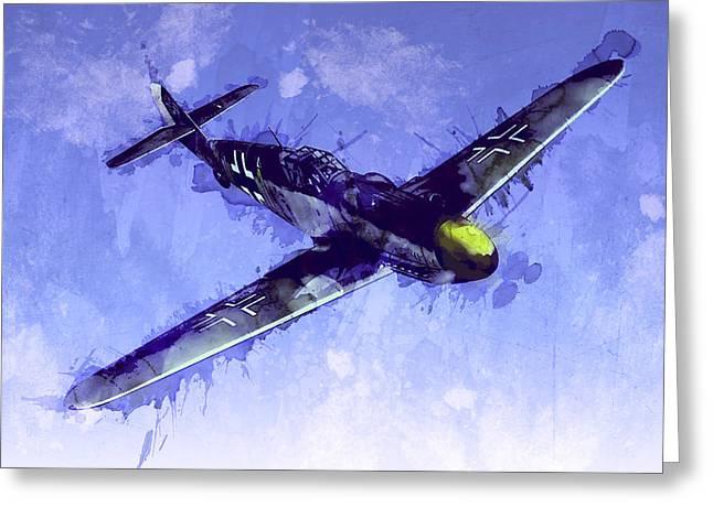 Messerschmitt Bf 109 Greeting Card by Michael Tompsett