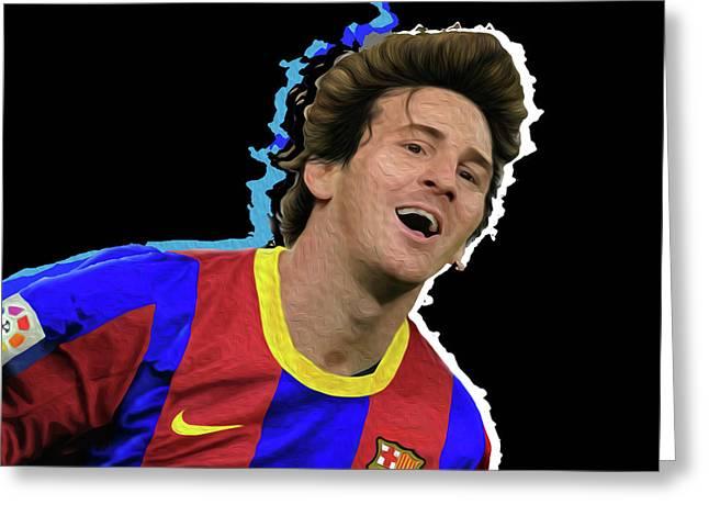 Messi 3498 By Nicholas Nixo Efthimiou Greeting Card by Nicholas Nixo
