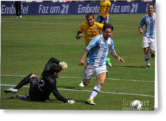 Clash Of Worlds Greeting Cards - Messi Breaking Ankles Greeting Card by Lee Dos Santos