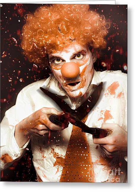 Messy Homicidal Clown In Bloody Horror Massacre Greeting Card by Jorgo Photography - Wall Art Gallery