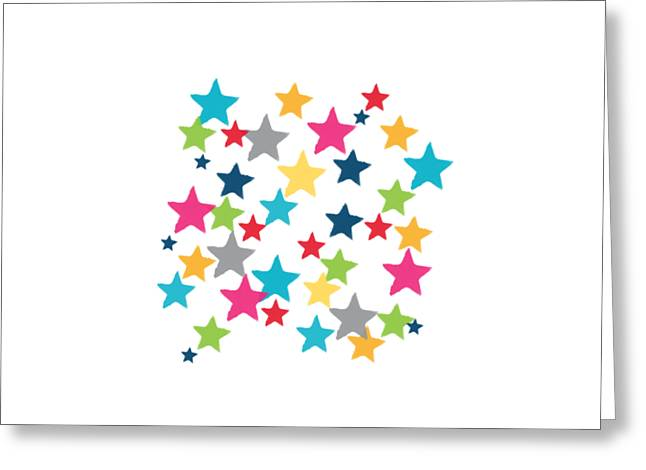 Messy Stars- Shirt Greeting Card by Linda Woods