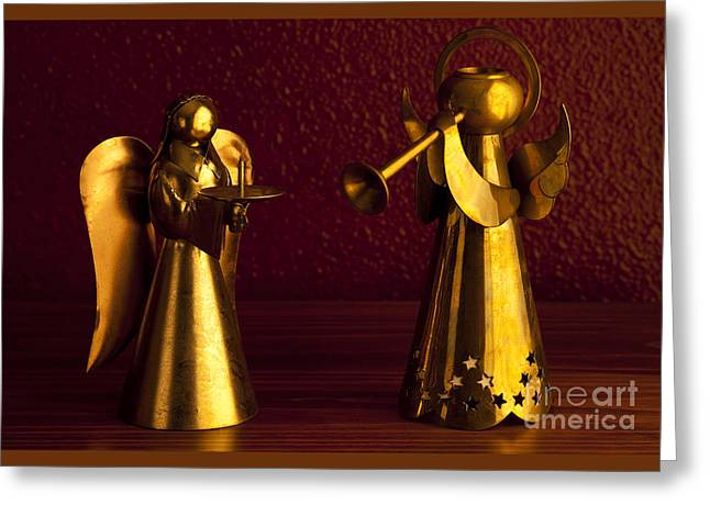 Candle Stand Greeting Cards - Metal Angels Greeting Card by Jim Corwin