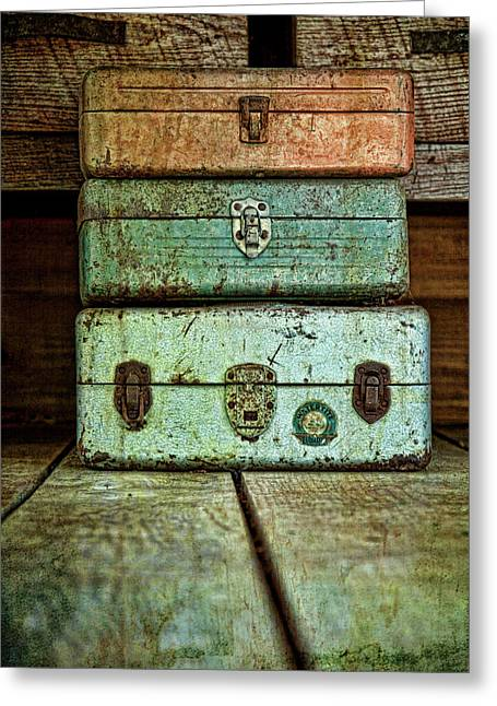 Metal Boxes Greeting Card by Tom Mc Nemar