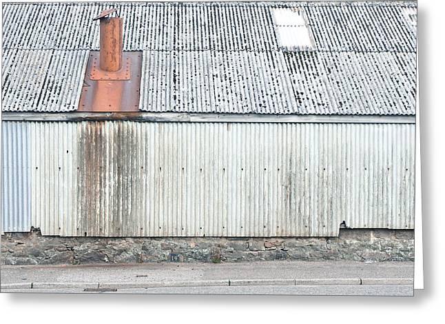 Metal Building Greeting Card by Tom Gowanlock