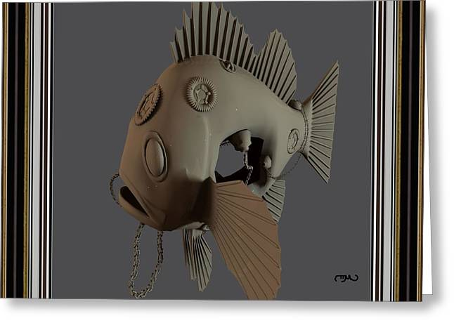 Statue Portrait Greeting Cards - Metal fish 15MF2 Greeting Card by Pemaro