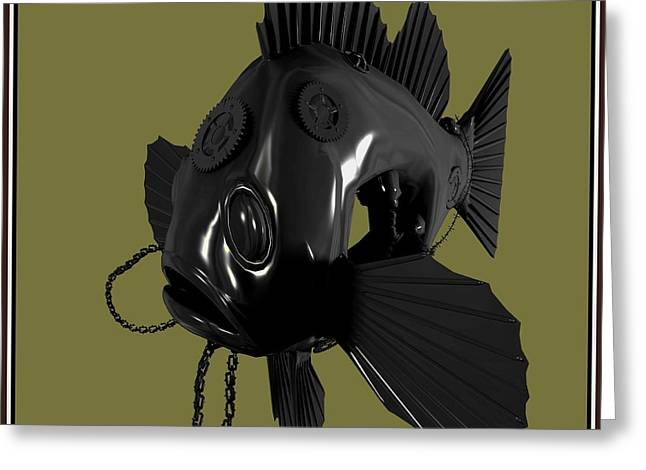 Statue Portrait Greeting Cards - Metal fish 16MF1 Greeting Card by Pemaro