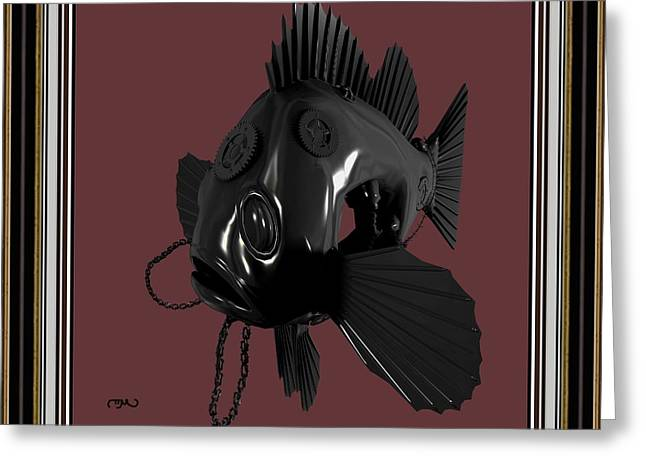 Statue Portrait Greeting Cards - Metal fish 19MF2 Greeting Card by Pemaro