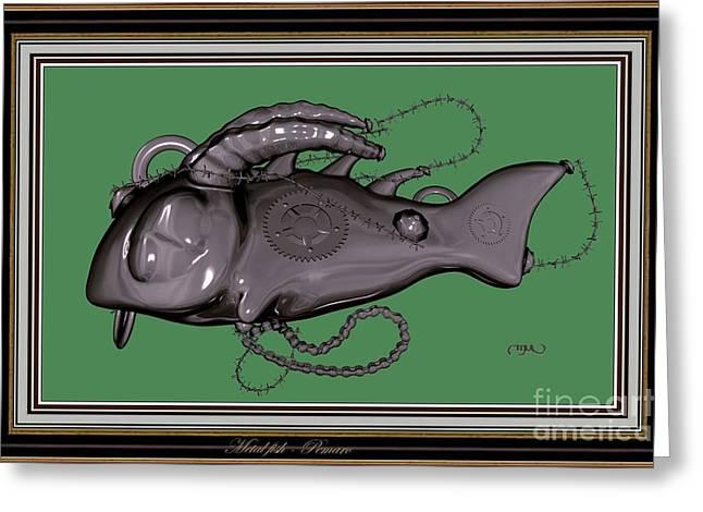 Abstract Digital Mixed Media Greeting Cards - Metal fish 26MF2 Greeting Card by Pemaro