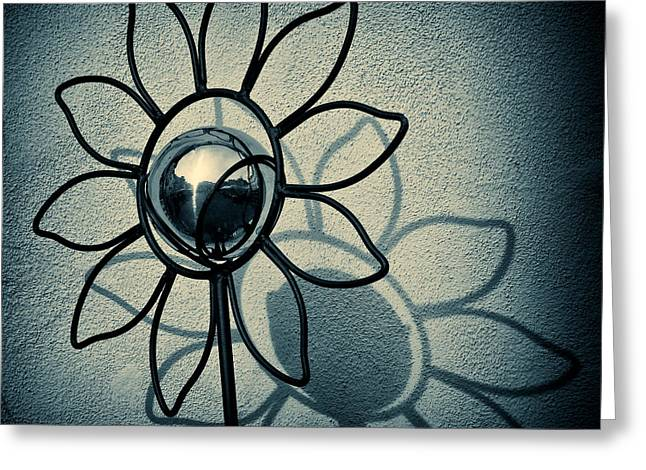 Mirror Reflection Greeting Cards - Metal Flower Greeting Card by Dave Bowman