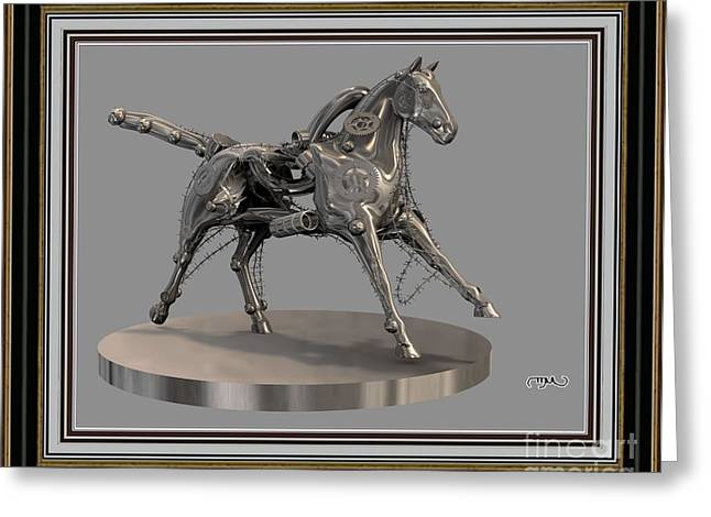 Abstract Digital Mixed Media Greeting Cards - Metal horse 5MH2 Greeting Card by Pemaro