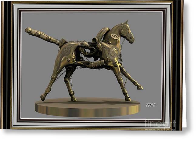 Abstract Digital Mixed Media Greeting Cards - Metal horse 6MH2 Greeting Card by Pemaro