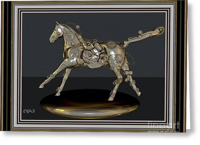 Abstract Digital Mixed Media Greeting Cards - Metal horse MH2 Greeting Card by Pemaro
