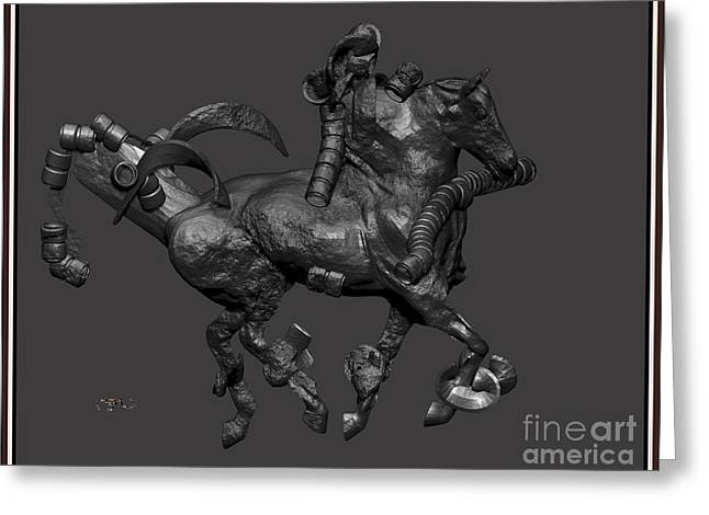 Statue Portrait Greeting Cards - metal horse statue 11MHS1 Greeting Card by Pemaro