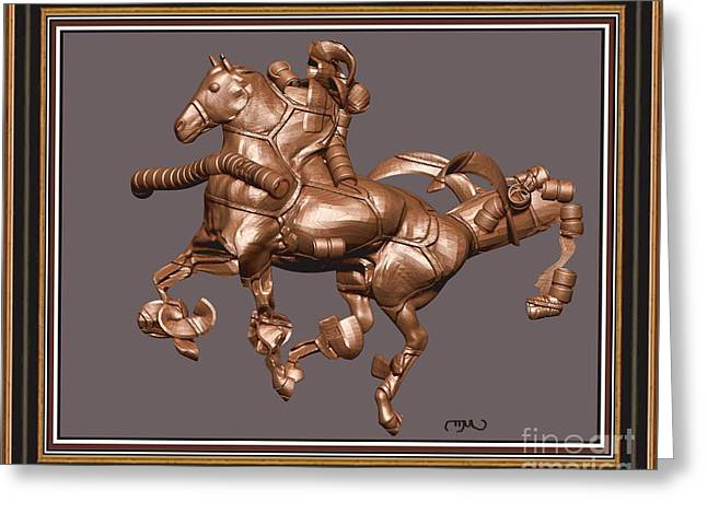 Statue Portrait Greeting Cards - metal horse statue 20MHS2 Greeting Card by Pemaro