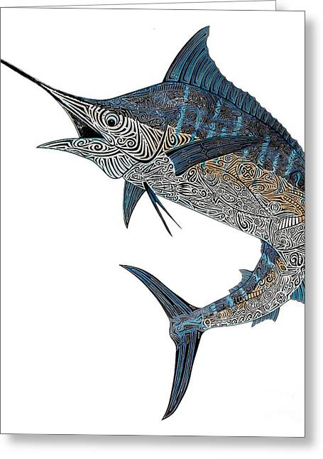 Scuba Diving Greeting Cards - Metal Marlin Tribal Greeting Card by Carol Lynne