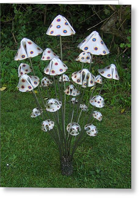 Garden Sculptures Greeting Cards - Metal Mushrooms Greeting Card by Stanger Moore