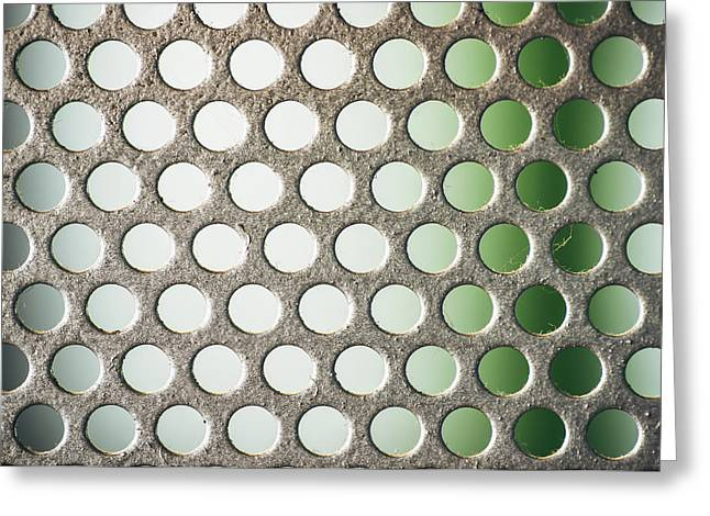 Industrial Background Greeting Cards - Metal plate with many small circular holes macro texture background Greeting Card by Eduardo Huelin