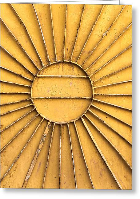 Industrial Background Greeting Cards - Metal Radial Sun On Orange Greeting Card by John Williams