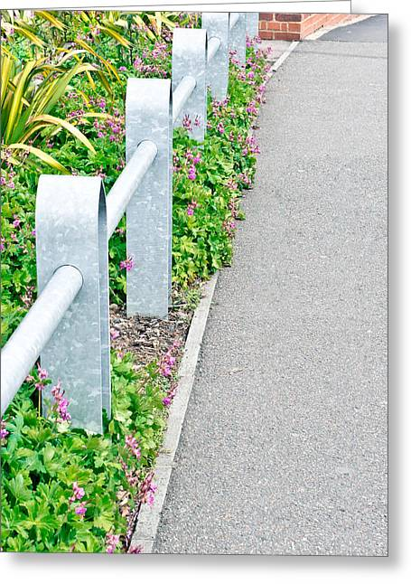 Bannister Greeting Cards - Metal railing Greeting Card by Tom Gowanlock