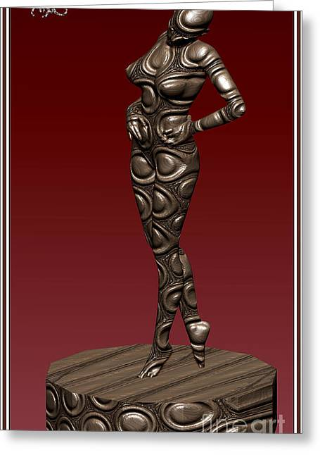 Statue Portrait Greeting Cards - Metal statue of a girl 1MSOAG Greeting Card by Pemaro