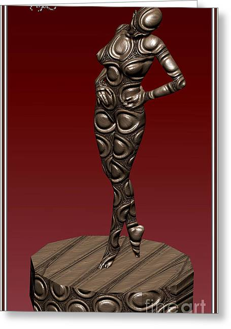 Statue Portrait Greeting Cards - Metal statue of a girl 2MSOAG Greeting Card by Pemaro
