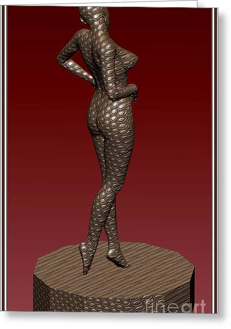 Statue Portrait Greeting Cards - Metal statue of a girl 3MSOAG Greeting Card by Pemaro