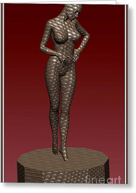 Statue Portrait Greeting Cards - Metal statue of a girl 4MSOAG Greeting Card by Pemaro