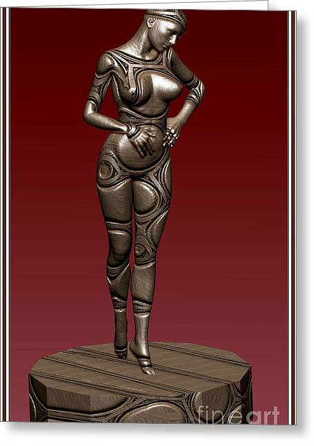 Statue Portrait Greeting Cards - Metal statue of a girl 5MSOAG Greeting Card by Pemaro