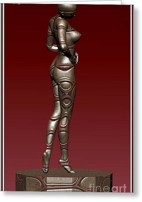 Statue Portrait Greeting Cards - Metal statue of a girl 8MSOAG Greeting Card by Pemaro