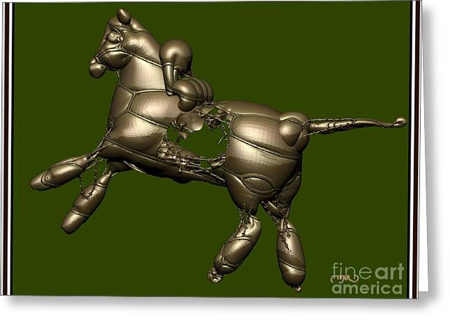 Statue Portrait Greeting Cards - Metal Statuette 4ms Greeting Card by Pemaro