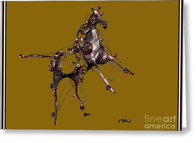 Statue Portrait Greeting Cards - Metal Statuette 9ms Greeting Card by Pemaro