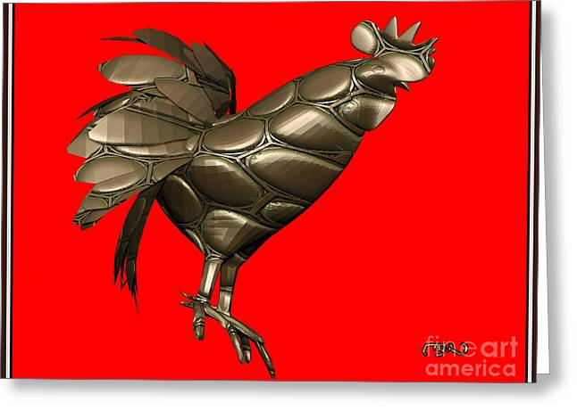 Abstract Digital Mixed Media Greeting Cards - Metal Statuette Rooster  1MSR Greeting Card by Pemaro