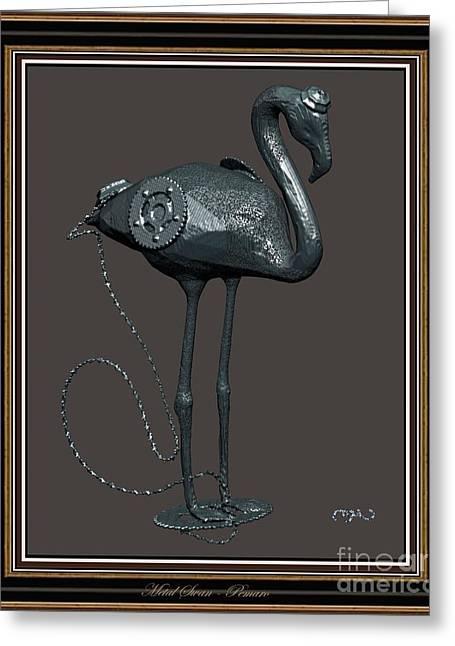 Statue Portrait Greeting Cards - Metal Swan 2MS2 Greeting Card by Pemaro