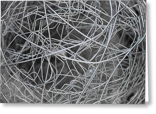 Industrial Background Greeting Cards - Metal wire texture background Greeting Card by Eduardo Huelin