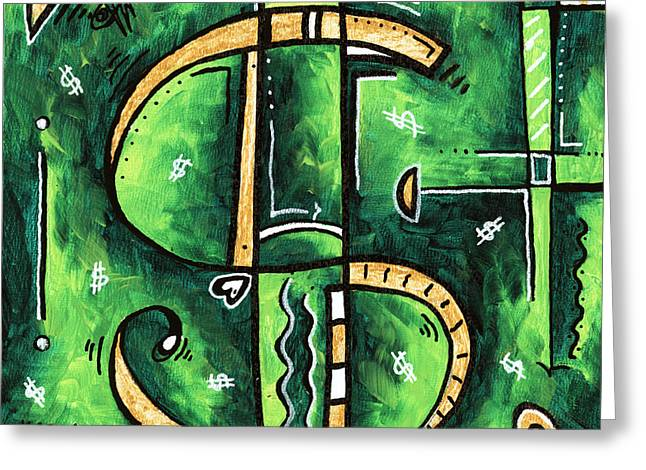 Licensor Greeting Cards - Metallic Gold Dollar Sign For the Love of Money Mini PoP Art Painting MADART Greeting Card by Megan Duncanson