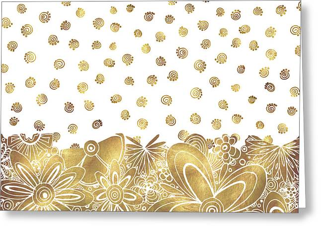 Licensor Mixed Media Greeting Cards - Metallic Gold Floral Flower Swirls Trendy Unique Art by MADART Greeting Card by Megan Duncanson