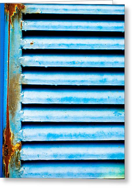 Entrance Shop Front Greeting Cards - Metallic shutter Greeting Card by Tom Gowanlock
