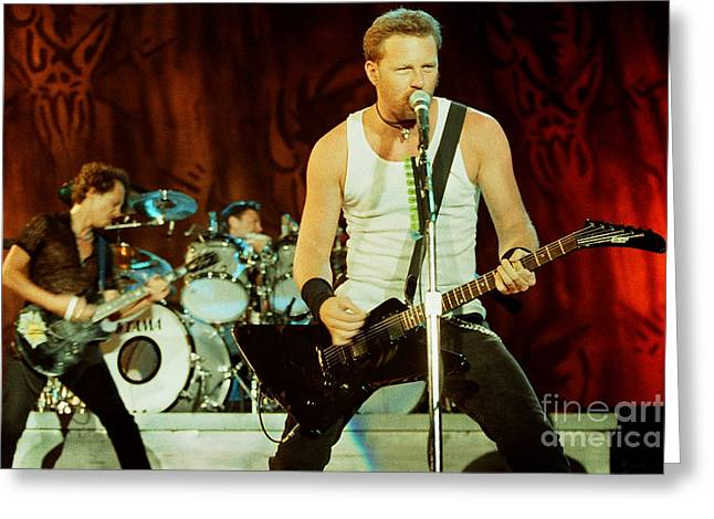 Metallica Greeting Cards - Metallica 96-Band-0243 Greeting Card by Timothy Bischoff